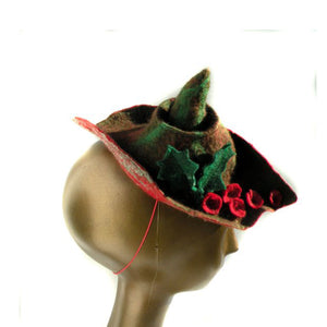 Christmas Fascinator with Holly Leaves