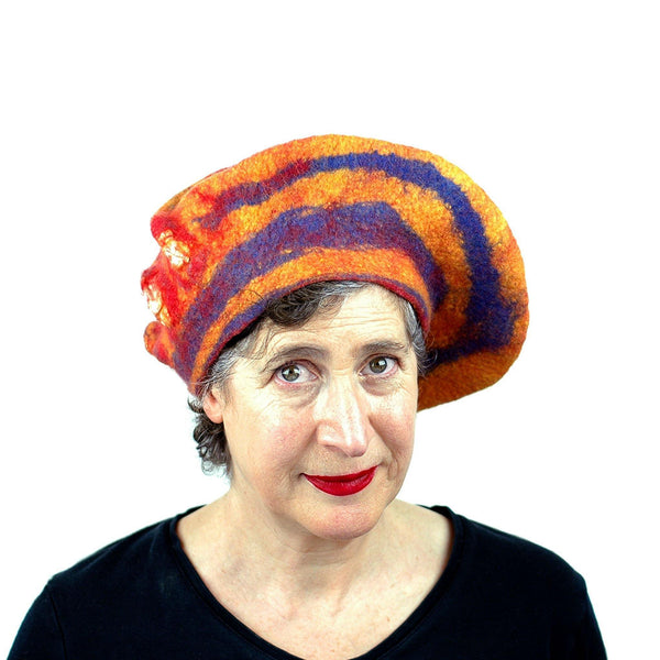 Circus-Style Yellow, Red and Blue Striped Beret - front view
