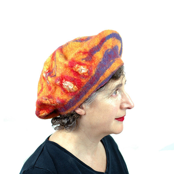 Circus-Style Yellow, Red and Blue Striped Beret - side view