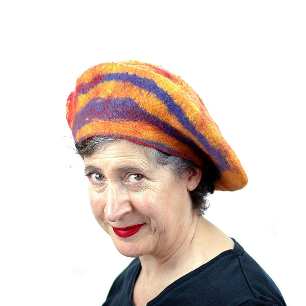 Circus-Style Yellow, Red and Blue Striped Beret - three quarters view