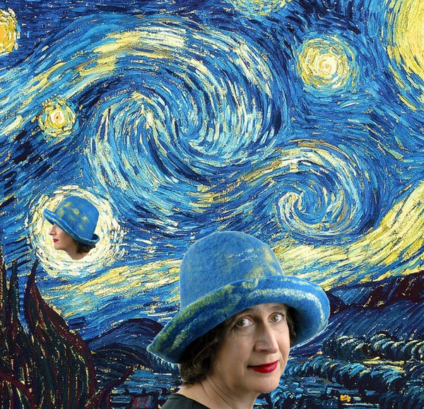 Starry Night by Vincent van Gogh and the  Blue Felted Brimmed Hat in a digital collage.