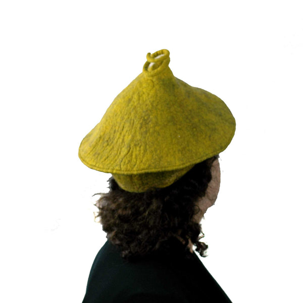 Conical Hat in Mustard Yellow - Medium Small Size  - back view