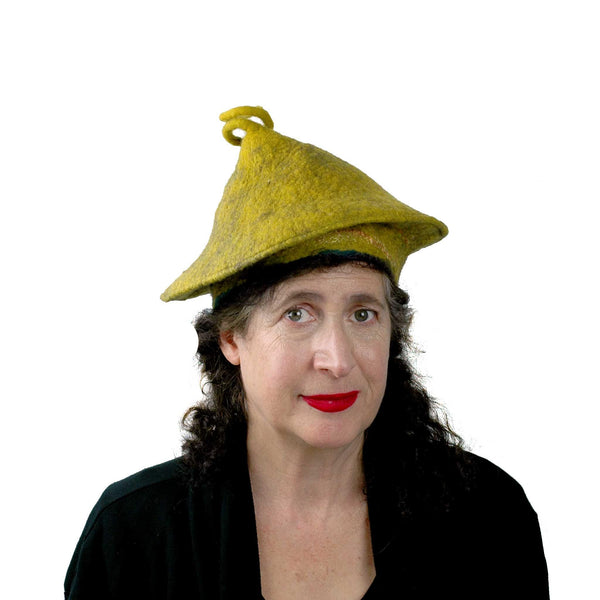 Conical Hat in Mustard Yellow - Medium Small Size  - front view