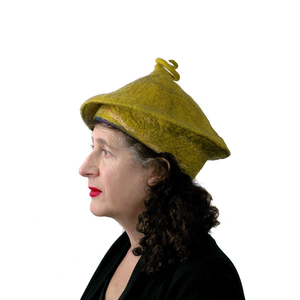 Conical Hat in Mustard Yellow - Medium Small Size  - side view