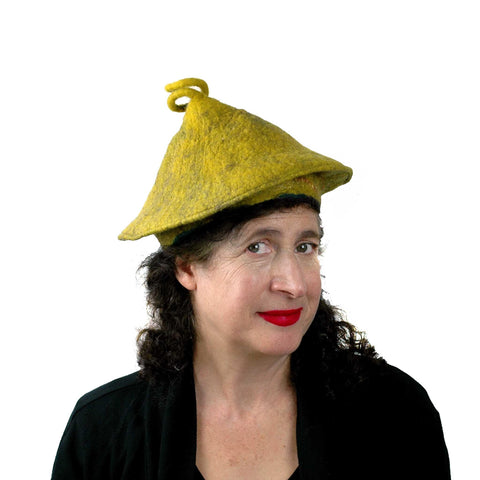 Conical Hat in Mustard Yellow - Medium Small Size  threequarters view