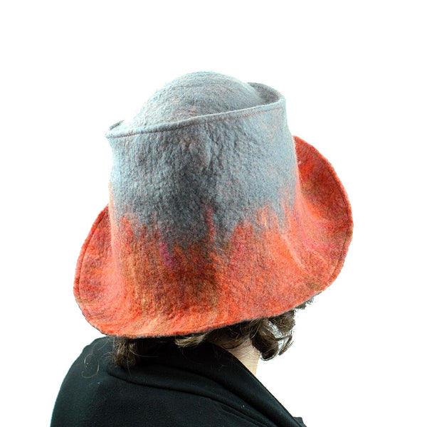 Coral and Gray Felted Hat with Nunofelt - back view