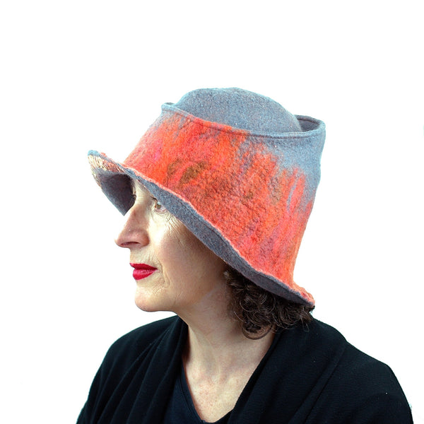 Coral and Gray Felted Hat with Nunofelt - side view