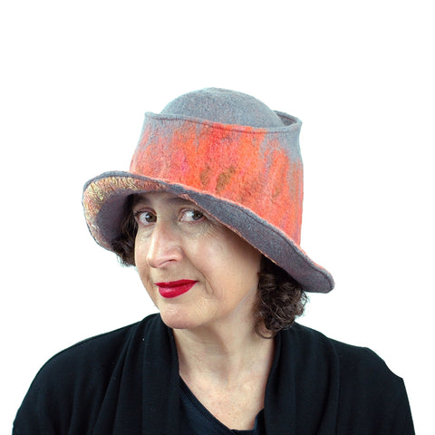 Coral and Gray Felted Hat with Nunofelt - threequarters view