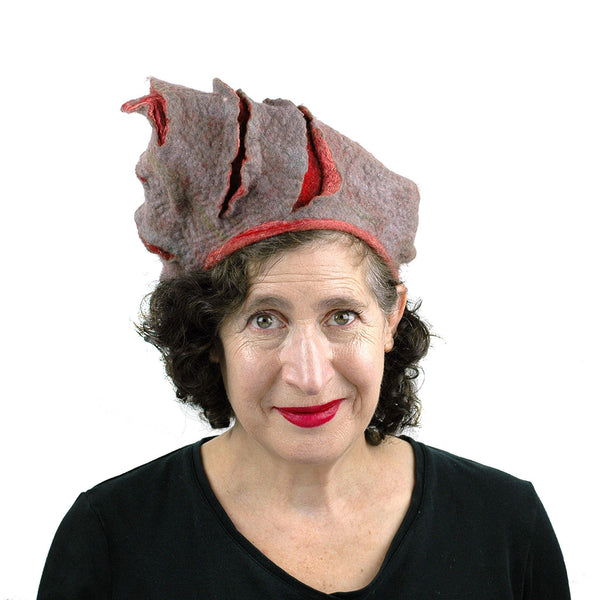 Coral and Gray Turban Style Hat - angled to the side