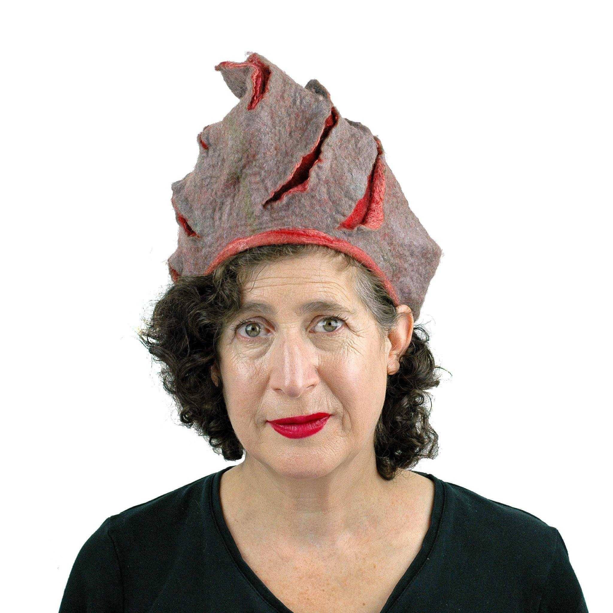 Coral and Gray Turban Style Hat - front view
