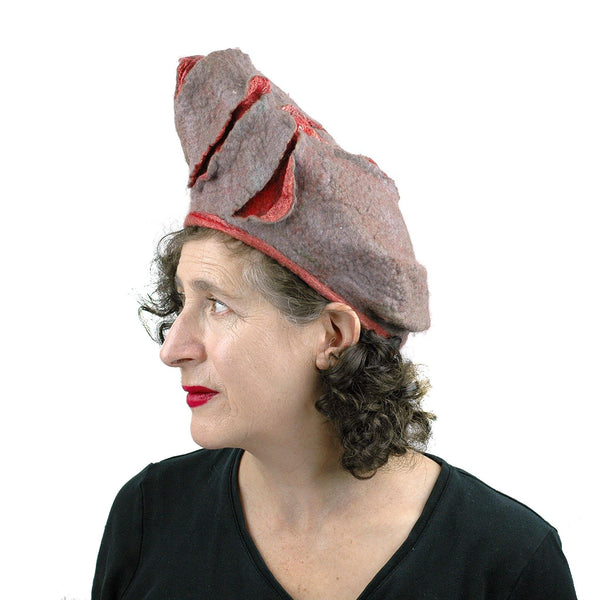Coral and Gray Turban Style Hat - side view