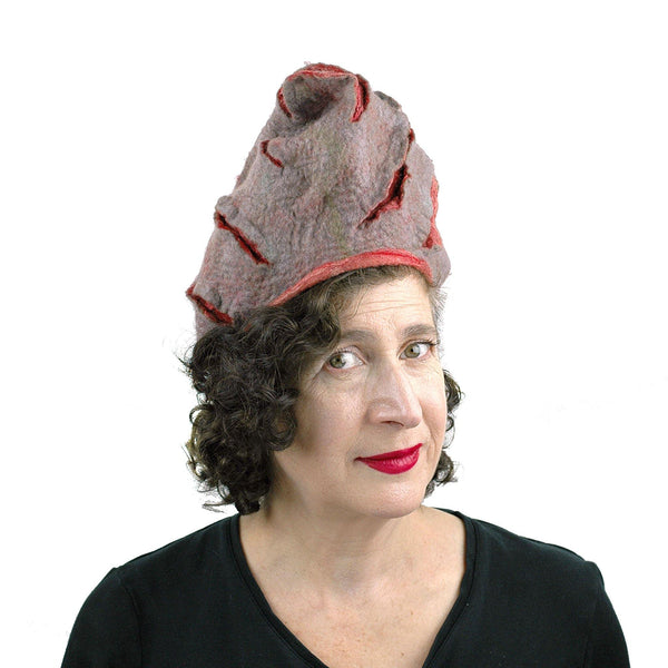 Coral and Gray Turban Style Hat - threequarters view