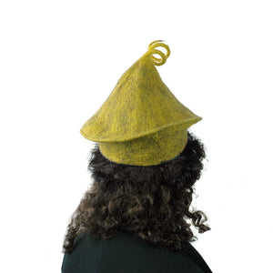 Curlicue Beret in Mustard Yellow - back view