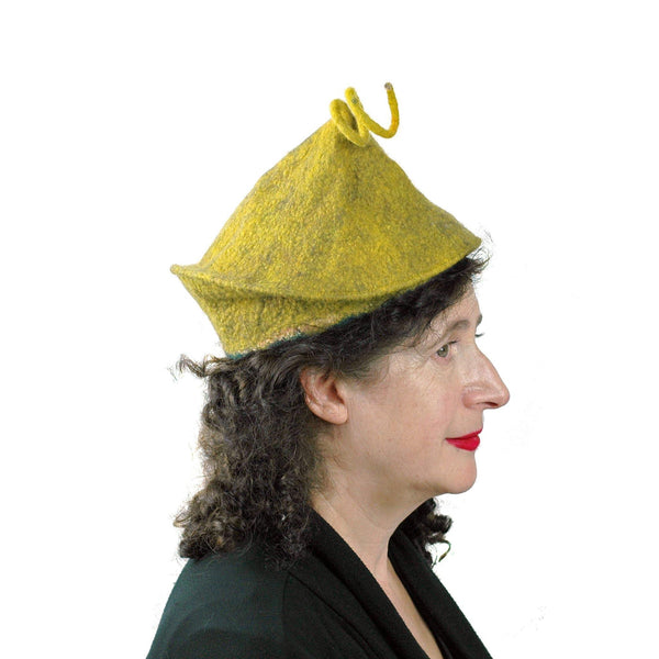 Curlicue Beret in Mustard Yellow - side view