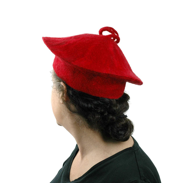Curlicue Red Felt Hat - back view
