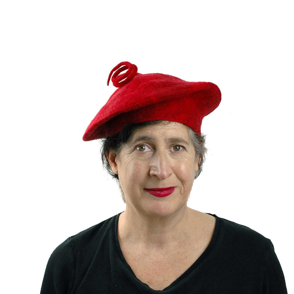 Curlicue Red Felt Hat - front view
