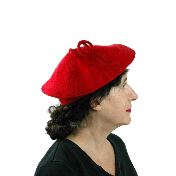 Curlicue Red Felt Hat - side view
