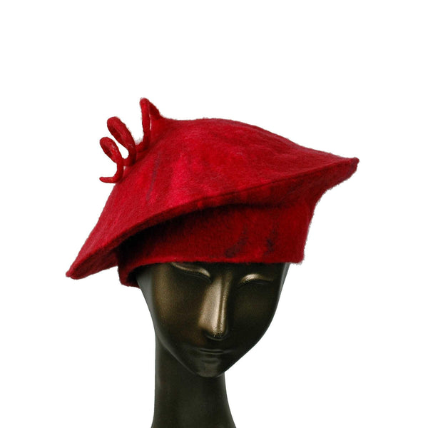 Custom Curlicue Hat Red - front view