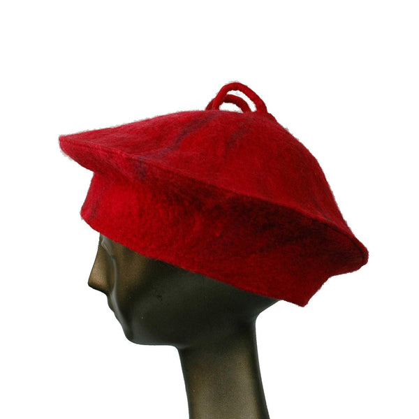 Custom Curlicue Hat Red - side view