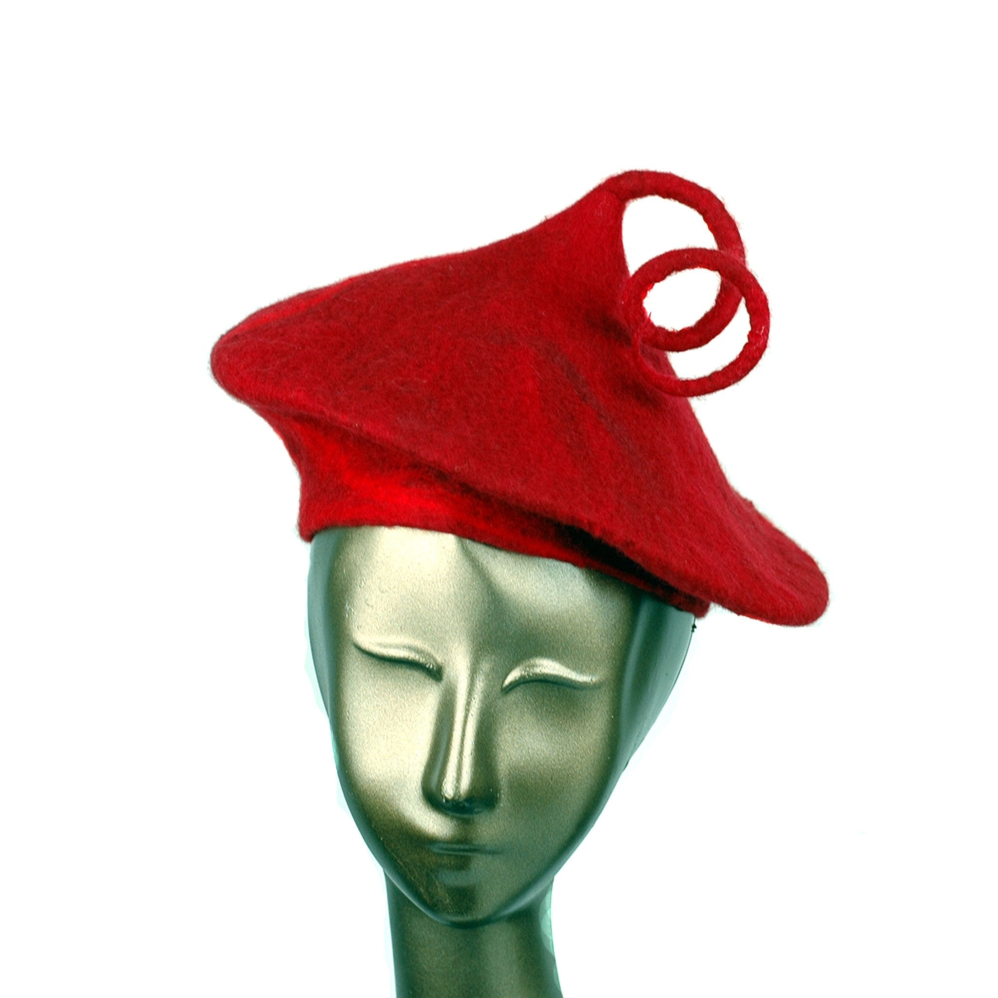 Felted Red Beret with Curlicue - front view