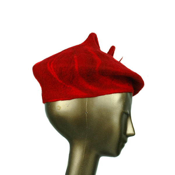 Felted Red Beret with Curlicue - side view