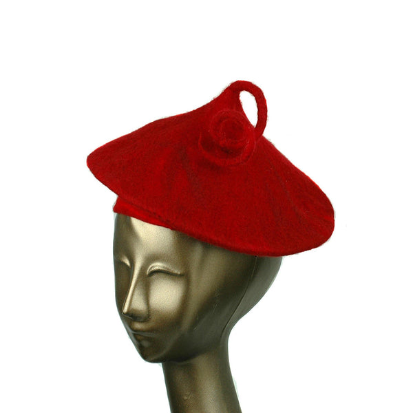 Felted Red Beret with Curlicue - three quarters view