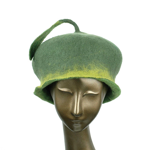 Custom Green Leaf Felted Hat - front view