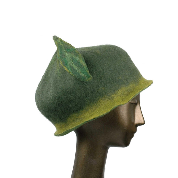 Custom Green Leaf Felted Hat - side view