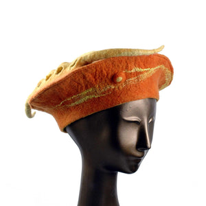 Custom Orange Seedpod Beret - three quarters view