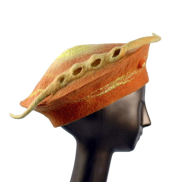 Custom Orange Seedpod Beret - side view