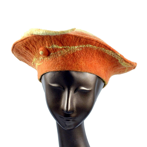 Custom Orange Seedpod Beret - front view