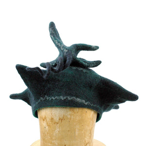 Custom Pagoda Hat in Black and Green - front view