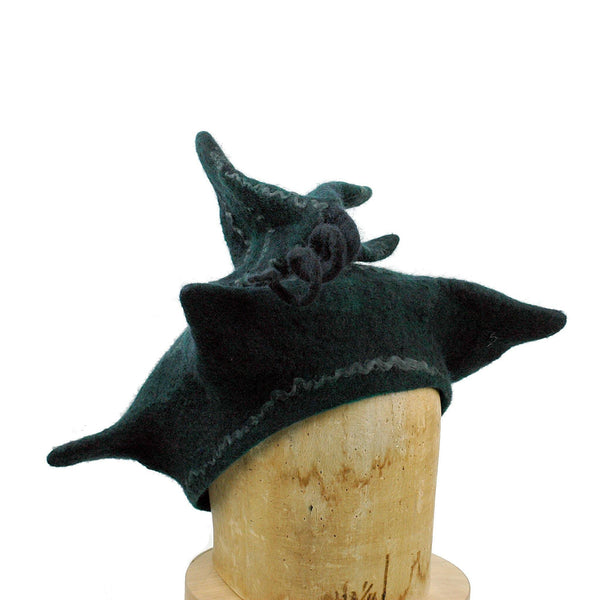 Custom Pagoda Hat in Black and Green - three quarters view