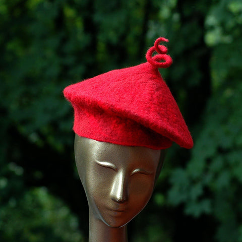 Custom Red Beret with Curlicue - front view