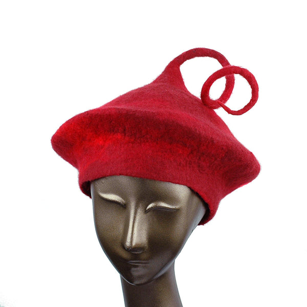 Custom Red Beret with Medium Curlicue - front view