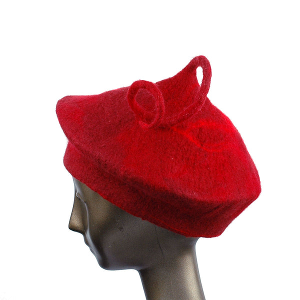 Custom Red Beret with Medium Curlicue - side view