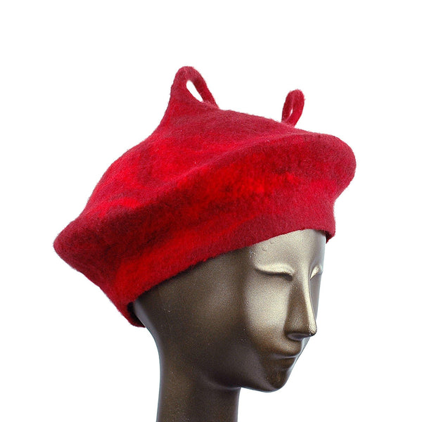 Custom Red Beret with Medium Curlicue - three quarters view