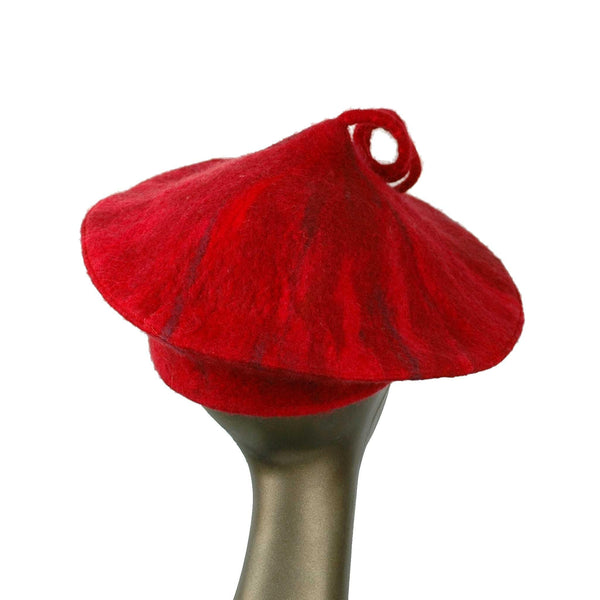 Custom Red Curlicue Beret for Mary -backview