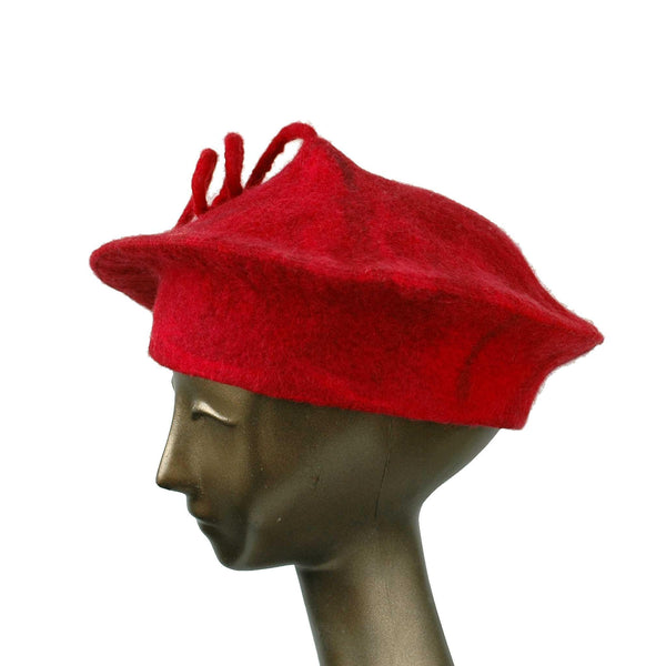Custom Red Curlicue Beret for Mary - side view