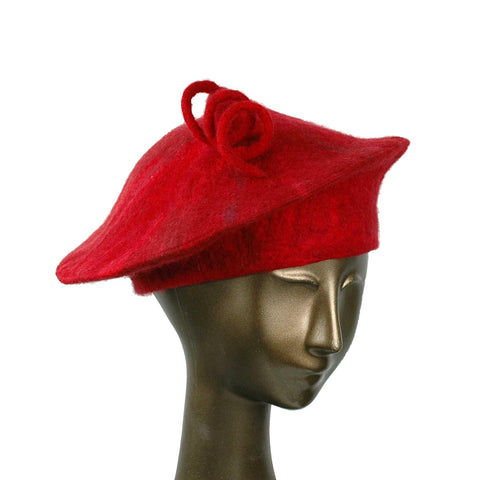 Custom Red Curlicue Beret for Mary - three quarters view