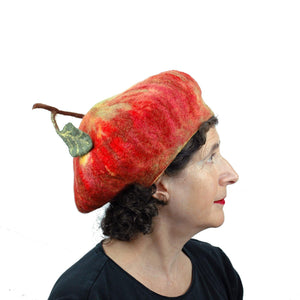 Cute Felted Apple Hat - side view