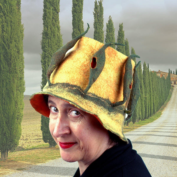 Yellow Cypress Tree Bucket Hat with Collaged of Italian Cypresses along a road.
