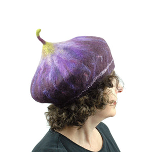 Dark Purple Felted Fig Hat with Stem - side view