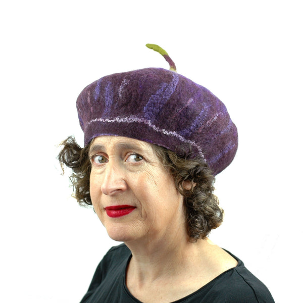 Dark Purple Felted Fig Hat with Stem - three quarters view