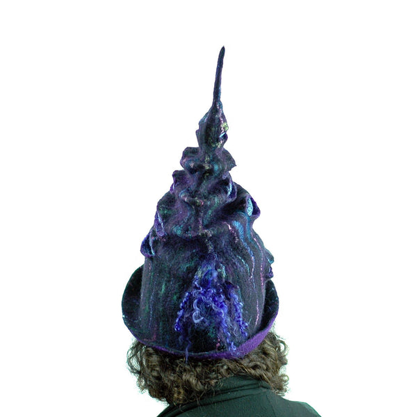 Dark Purple, Tall Felted Hat in the Shape of a Unicorn Horn - back view