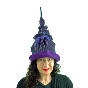 Dark Purple, Tall Felted Hat in the Shape of a Unicorn Horn - front view