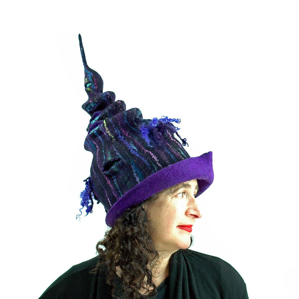 Dark Purple, Tall Felted Hat in the Shape of a Unicorn Horn -side view 1