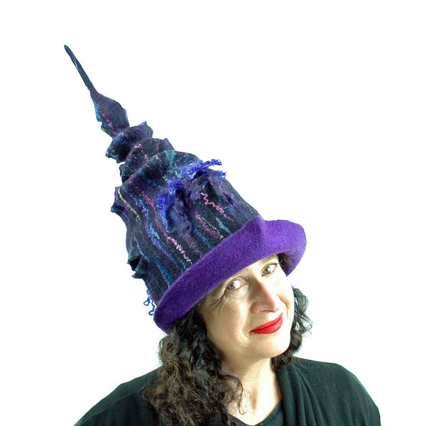 Dark Purple, Tall Felted Hat in the Shape of a Unicorn Horn - side view 2
