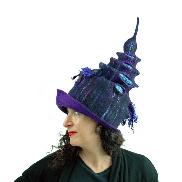 Dark Purple, Tall Felted Hat in the Shape of a Unicorn Horn - side view 4