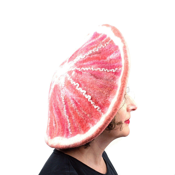 Dramatic Felted Grapefruit Hat - side view
